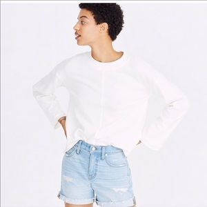 Madewell cropped bell sleeve sweatshirt,Off White,